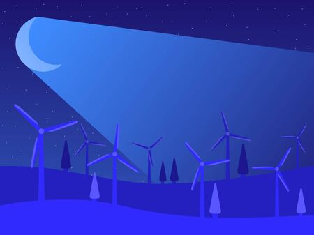 Renewable energy. Windmills night landscape with moonlight. Wind generators green energy. Vector illustration Banque d'images - 144171426