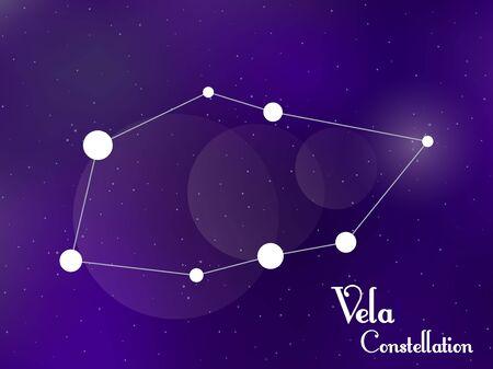 Vela constellation. Starry night sky. Cluster of stars, galaxy. Deep space. Vector illustration Vektorové ilustrace
