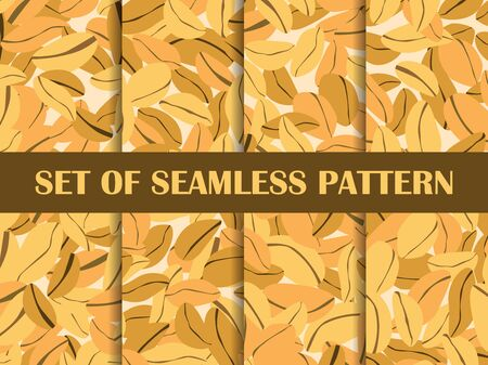 Peanut set of seamless pattern. Roasted peanuts. Background design for printing on wrappers, packaging, fabrics and wallpapers. Vector illustration