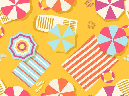 Seamless beach pattern, top view. Chaise lounge with beach umbrella and towel on the sand. Flat design style. Summer beach vacation. Vector illustration