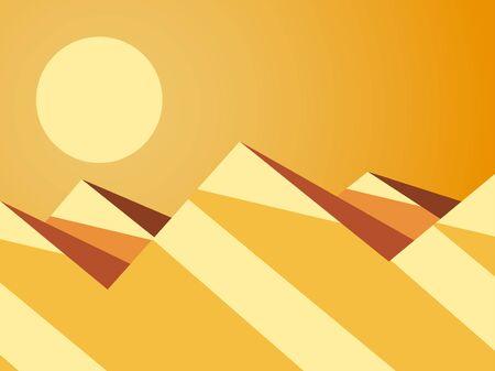 Desert mountain landscape. Hot sunny day. Desert with dunes in flat style. Vector illustration