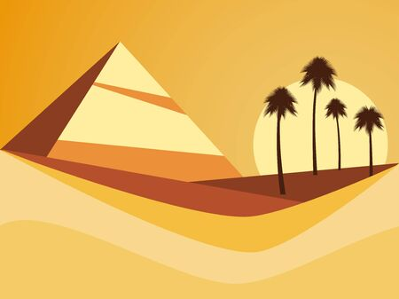 Desert landscape with a pyramid and palm trees. Desert with dunes in flat style. Vector illustration  イラスト・ベクター素材