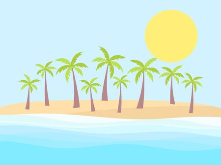 Palm trees on the shore of a tropical beach. Landscape with palm trees, sea waves and sun. Vector illustration