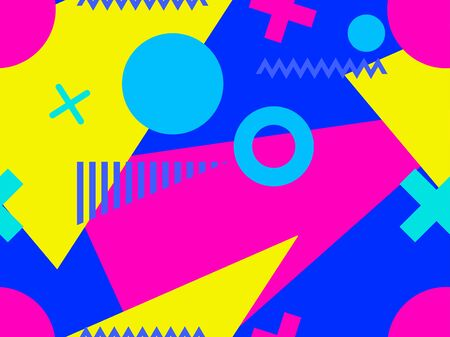 Memphis seamless pattern with geometric shapes in the style of the 80s. Multi-colored triangles, circles and zigzags for promotional products, wrapping paper and printing. Vector illustration