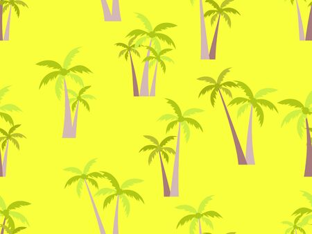 Palm trees seamless pattern on yellow background. Tropical jungle, exotic background for advertising, postcards, poster and banner. Vector illustration