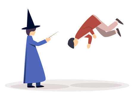 Wizard in a cloak and a witch's hat, holds a magic wand in his hand. Flies with the help of magic, levitation. Vector illustration