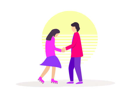 Roller girl and guy holding hands against the backdrop of the sun in the style of the 80s isolated on white background. Vector illustration Illusztráció