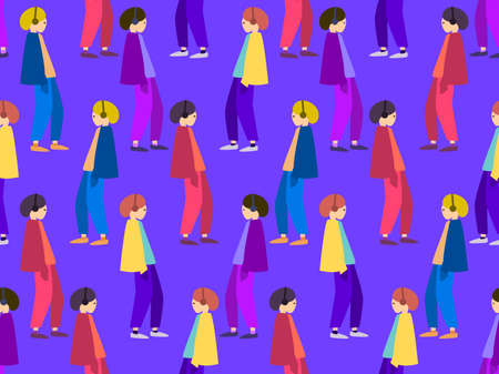 Walking people seamless pattern. People in headphones listen to music, dressed in colorful clothes. Pop art style color. Vector illustration Illusztráció