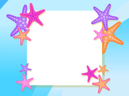 Summer frame with starfish. Top view. Flat design style. Place for text, web banner. Vector illustration