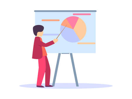 Man in a red suit shows a pointer to a chart. Round multicolored chart, presentation of indicators. Vector illustration Illusztráció