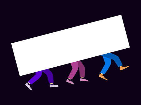 Group of people are holding a white banner, view of the legs in trousers and shoes. Foot movement. Vector illustration Illusztráció