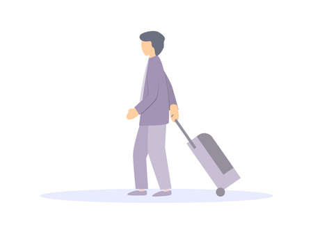Man with a suitcase on wheels Isolated on a white background. Tourist, passenger airplane. Vector illustration Illusztráció