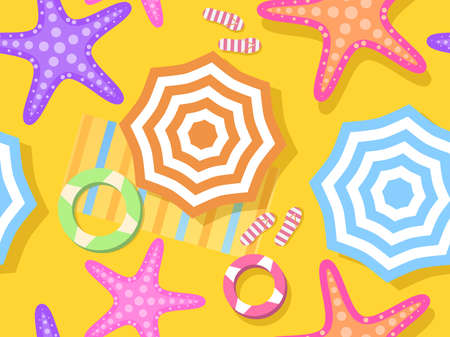 Beach seamless pattern, top view. Beach umbrella and towel on the sand, starfish. Flat design style. Vector illustration  イラスト・ベクター素材