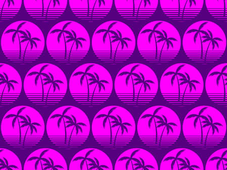 Seamless pattern with palm trees on sun background in 80s style, purple color. Synthwave retro background. Vector illustration  イラスト・ベクター素材