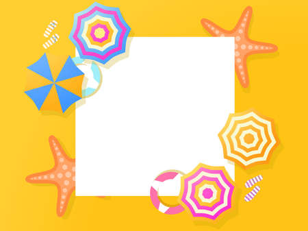 Summer frame. Beach, top view. Beach umbrella and starfish on the sand. Flat design style. Place for text, web banner. Vector illustration