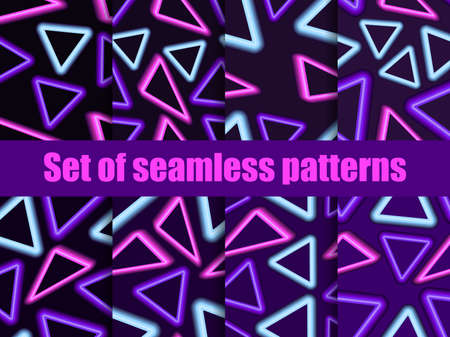 Neon triangles seamless patterns set. 80s retro sci-fi background. Futuristic, cyberpunk background. Linear light rays. Vector illustration  イラスト・ベクター素材