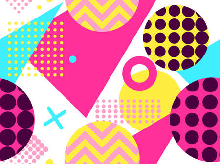 Memphis seamless pattern with geometric shapes in the style of the 80s. Eighties print colorful background for promotional products, wrapping paper and printing. Vector illustration  イラスト・ベクター素材