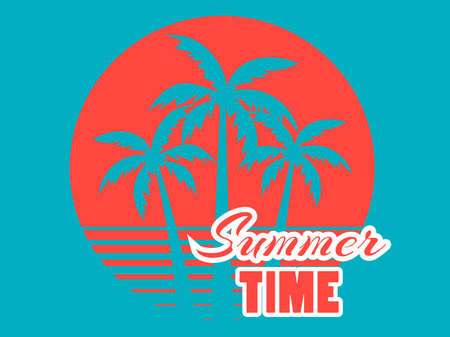 Summer time. 80s retro palm trees on a sunset. Tropical landscape.  blue and coral red colors. Vector illustration