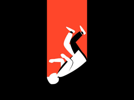 Falling man flat with long shadow. Male white silhouette on black background. Retro style, noir. Vector illustration  イラスト・ベクター素材