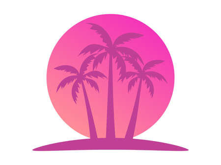 Tropical landscape with palm trees on a background of sea sunset. 80s Retro style. Background for advertising, poster and banner. Vector illustration  イラスト・ベクター素材
