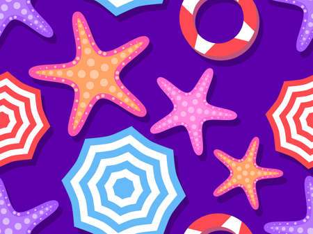 Beach seamless pattern, top view. Beach umbrella and towel on violet background, starfish. Flat design style. Vector illustration