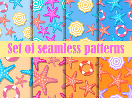 Beach seamless pattern set, top view. Beach umbrella and colorful starfish. For promotional products, wrapping paper and printing. Vector illustration