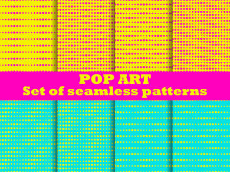 Dotted, Pop Art seamless pattern set. 1960s pop art background for promotional items, wrapping paper and printing. Vector illustration