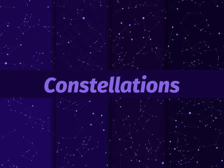 Constellations seamless pattern set. Starry night sky map. Cluster of stars and galaxies. Deep space. Vector illustration