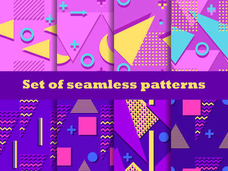 Memphis seamless patterns set. Geometric elements of Memphis in the style of the 80s. Colorful background for promotional items, wrapping paper and printing. Vector illustration