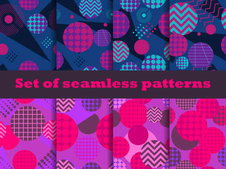 Memphis seamless pattern set with geometric shapes in the style of the 80s. Eighties print colorful background for promotional products, wrapping paper and printing. Vector illustration  イラスト・ベクター素材