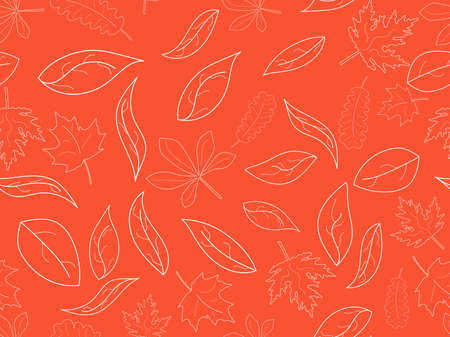 Seamless pattern with the contours of autumn leaves. Falling leaves, autumn background. Oak and maple. Vector illustration