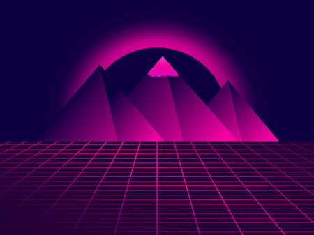 80s retro sci-fi pyramids. Futuristic background with grid and pyramids. Landscape in virtual reality, neon sunset. Synthwave and retrowave style. Vector illustration