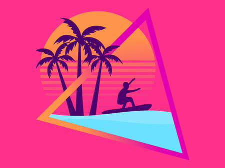 80s retro sci-fi surfer with palm trees on a sunset. Surfer against the backdrop of palm trees and retro futritic sun. Synthwave style. Vector illustration  イラスト・ベクター素材