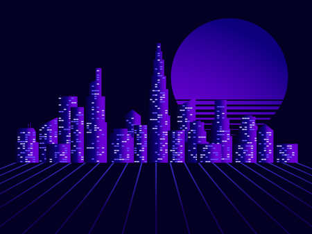 Night city panorama with skyscrapers retro futuristic style 80s. Synthwave and retrowave style. Vector illustration  イラスト・ベクター素材