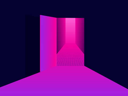 Entering virtual reality. Light from an open door, pink purple gradient. Open door to 80s retro sci-fi virtual reality. Synthwave and retrowave style. Vector illustration  イラスト・ベクター素材