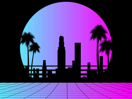 80s retro sci-fi city. City landscape with palm trees and futuristic sunset. Synthwave and retrowave style. Vector illustration
