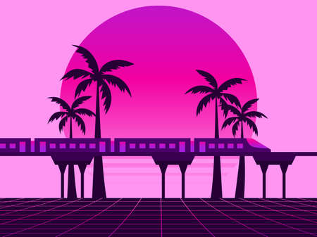 80s retro sci-fi landscape with train. Futuristic palm trees on a sunset. Synthwave and retrowave style. Vector illustration