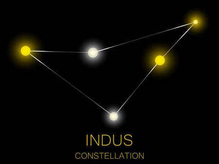 Indus constellation. Bright yellow stars in the night sky. A cluster of stars in deep space, the universe. Vector illustration