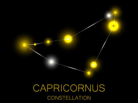 Capricornus constellation. Bright yellow stars in the night sky. A cluster of stars in deep space, the universe. Vector illustration