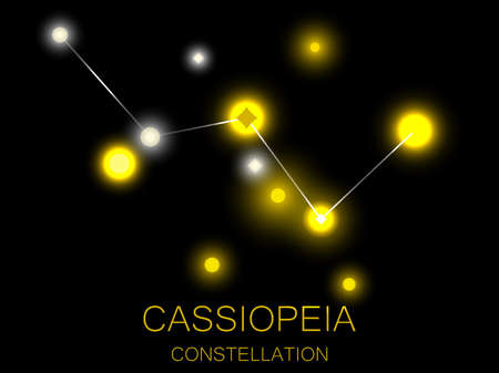 Cassiopeia constellation. Bright yellow stars in the night sky. A cluster of stars in deep space, the universe. Vector illustration Illustration