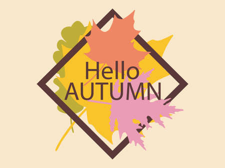 Autumn time frame with leaves. Vintage border with yellowed falling oak and maple leaves. Design a template for invitations, leaflets and greeting cards. Vector illustration