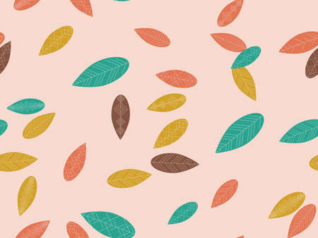 Autumn leaves seamless pattern. Falling leaves, leaf fall. Background for surfaces, printing on paper and fabric. Vector illustration