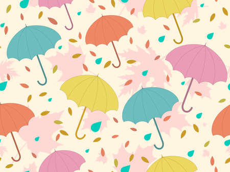 Autumn seamless pattern with umbrellas and leaves. Falling leaves, leaf fall. Colorful umbrellas from the rain. Background for surfaces, printing on paper and fabric. Vector illustration