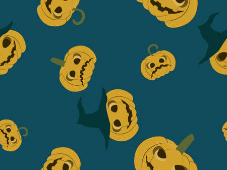 Spooky halloween pumpkins seamless pattern. Jack-o-lantern. Festive background for wrapping paper, print, fabric and printing. Vector illustration
