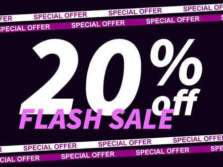 Flash sale, special offer 20% off. Sale tape ribbon and text on black background. Black friday. Design for promotional items, coupon and gift cards. Vector illustration