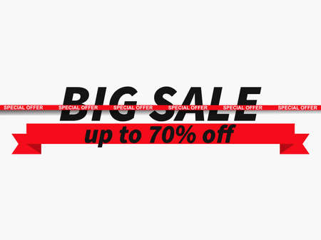 Big sale, special offer up to 70% off. Sale tape ribbon on white background. Black friday. Design for promotional items, banners, coupon and gift cards. Vector illustration