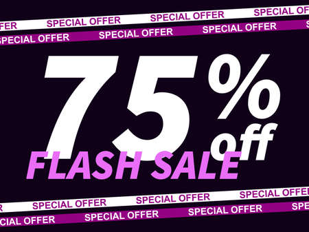 Flash sale, special offer 75% off. Sale tape ribbon and text on black background. Black friday. Design for promotional items, coupon and gift cards. Vector illustration 일러스트