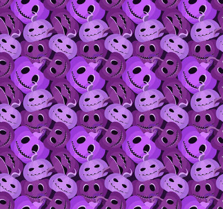 Spooky pumpkins seamless pattern. Jack-o-lantern. Halloween festive background for wrapping paper, print, fabric and printing. Vector illustration