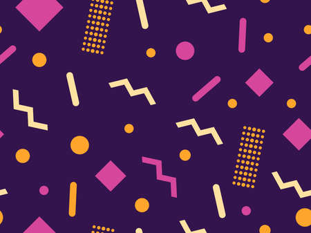 Geometric seamless pattern with triangles and dots. Memphis style. Retro fashion 80s background for wrapping paper, print, fabric and printing. Vector illustration 일러스트