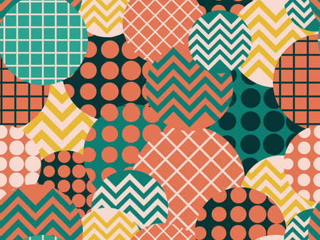 Memphis seamless pattern with geometric shapes in the style of the 80s. Retro fashion background for wrapping paper, print, fabric and printing. Vector illustration